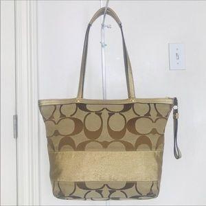 Coach Legacy Signature Stripe Gold/Khaki Tote Bag